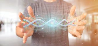 Equipaggi la tenuta del DNA codificato dati della rappresentazione 3d con il aroun del file binario Fotografia Stock Libera da Diritti