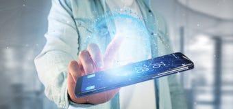 Equipaggi la tenuta del globo della terra di dati della rappresentazione 3d su uno smartphone Fotografia Stock