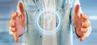 Equipaggi la tenuta dell'icona del punto interrogativo della tecnologia su un rende del cerchio 3d Fotografia Stock