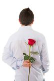 Equipaggi la tenuta della rosa rossa singola dietro il suo indietro Fotografia Stock Libera da Diritti