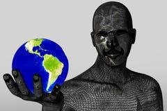 Equipaggi la tenuta e lo sguardo del mondo in sua mano destra Immagini Stock Libere da Diritti