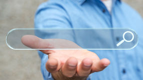 Equipaggi praticare il surfing su Internet facendo uso del renderi tattile della barra degli indirizzi 3D di web Fotografia Stock Libera da Diritti