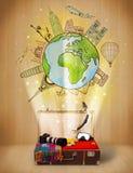 Equipaje con concepto del ejemplo del viaje en todo el mundo Fotos de archivo libres de regalías