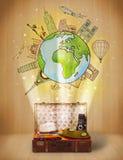 Equipaje con concepto del ejemplo del viaje en todo el mundo Imágenes de archivo libres de regalías