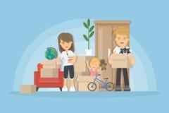 Equipaje de la nueva casa realocación stock de ilustración