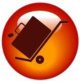 Equipaje en el botón del carro de la mano ilustración del vector