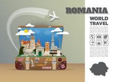 Equipaje global de Infographic del viaje y del viaje de la señal de Rumania 3 stock de ilustración