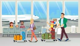 Equipaje que lleva de la familia en vector de la historieta del aeropuerto ilustración del vector