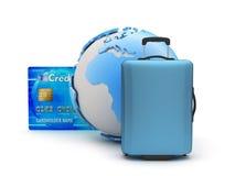 Equipaje, tarjeta de crédito y globo de la tierra Imagen de archivo