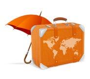 Equipaje y paraguas del elemento que viajan Fotos de archivo libres de regalías