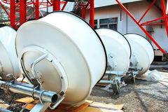 Imagem detalhada de comunicações da parte com uma antena da telecomunicação Foto de Stock Royalty Free