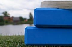 Equipamento azul da ioga Imagem de Stock