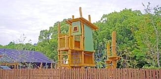 Equipamento colorido do campo de jogos das crianças no parque de Japão Fotografia de Stock