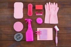 Equipamento cor-de-rosa da limpeza da cor Imagem de Stock