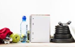 Equipamento da aptidão e nutrição saudável Imagem de Stock Royalty Free