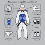 Equipamento da competição de esporte de Taekwondo ilustração stock