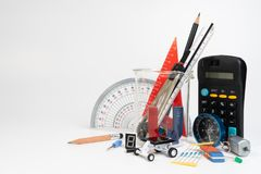 Equipamento da educação da HASTE, ciência, tecnologia, engenharia, matemática imagem de stock