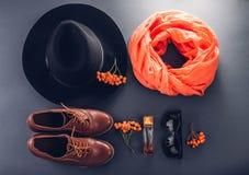 Equipamento da fêmea do outono Grupo de roupa, de sapatas e de acessórios Imagem de Stock Royalty Free
