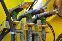 Equipamento da hidráulica, sistema da hidráulica na indústria ou trabalho duro imagens de stock royalty free