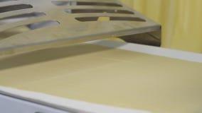 Equipamento da padaria Transporte com massa cena Indústria de padaria Naco de pão na linha de produção no cozimento vídeos de arquivo