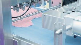 Equipamento da padaria Transporte com massa Indústria dos doces da padaria Naco de doces do pão na linha de produção no indust de filme
