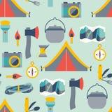 Equipamento de acampamento de Hikingand Fotografia de Stock