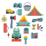 Equipamento de acampamento de Hikingand Fotos de Stock Royalty Free
