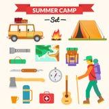Equipamento de caminhada e de acampamento - grupo do ícone Foto de Stock