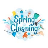 Equipamento de decoração e de limpeza da letra da limpeza da primavera Foto de Stock Royalty Free