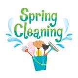 Equipamento de decoração e de limpeza da letra da limpeza da primavera Imagem de Stock