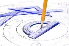 Equipamento de desenho da engenharia Foto de Stock Royalty Free