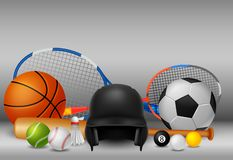 Equipamento de esporte com cor branca e cinzenta do fundo ilustração do vetor