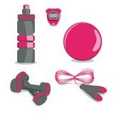 Equipamento de esportes Vetor Bola, garrafa, cronômetro, corda de salto, D ilustração stock