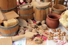 Equipamento de madeira da cozinha Imagens de Stock