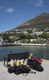 Equipamento de mergulho em um cais Fotografia de Stock Royalty Free