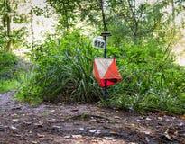 Equipamento de Orienteering na floresta Foto de Stock Royalty Free