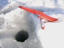 Equipamento de pesca do gelo Imagem de Stock