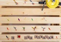 Equipamento de pesca do gelo - eu amo pescar imagem de stock royalty free