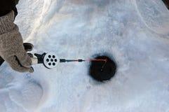 Equipamento de pesca do inverno Fotos de Stock