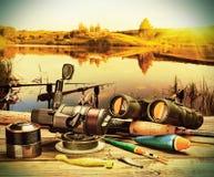 Equipamento de pesca em um pontão Foto de Stock Royalty Free