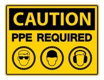 Equipamento de prote??o pessoal exigido ( PPE) S?mbolo, ?cone da seguran?a, ilustra??o do vetor ilustração stock