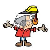 Equipamento de segurança desgastando do homem dos desenhos animados Fotos de Stock Royalty Free
