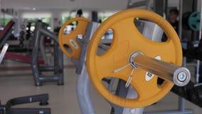 Equipamento de treino do peso do Gym e do peso no esporte, equipamentos saudáveis do exercício da vida e do gym e conceito dos es filme