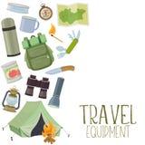 Equipamento do acampamento e do turismo Fotos de Stock