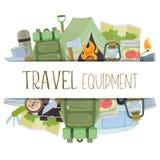 Equipamento do acampamento e do turismo Imagem de Stock Royalty Free