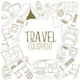 Equipamento do acampamento e do turismo Imagens de Stock Royalty Free