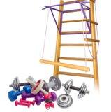 Equipamento do exercício na perspectiva do gym home Imagens de Stock