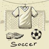 Equipamento do futebol ilustração stock