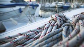 Equipamento do iate da navigação, close up das cordas esporte Imagens de Stock