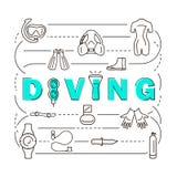 Equipamento do mergulho autônomo da bandeira Foto de Stock Royalty Free